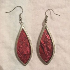 Beautiful Crimson Red Stained Glass Earrings